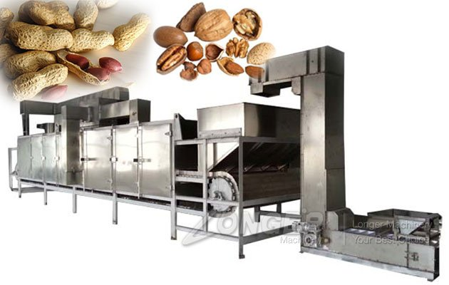 Multifunctional Continuous Peanut Nut Roaster Machi