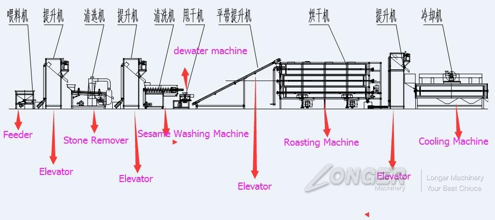 Automatic Sesame Cleaning Drying Process